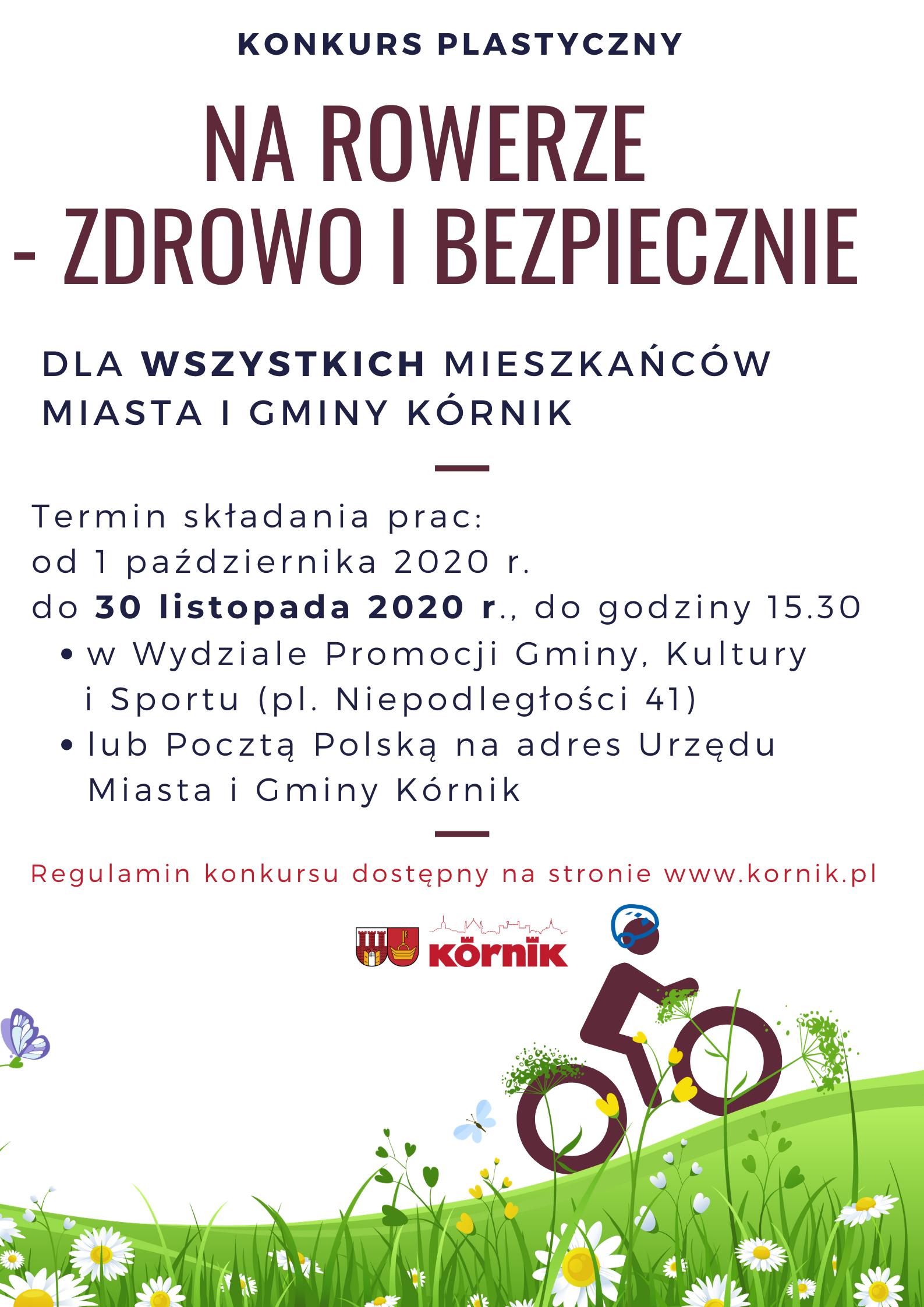 """Plakat konkursu """"Na rowerze- zdrowo i bezpiecznie"""". Podstawowe informacje takie jak w treści ogłoszenia. Grafika to rowerzysta w kasku na łące."""